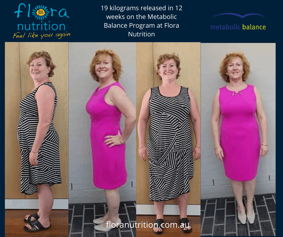 Before and After Results - 19kgs released in 12 weeks on the Metabolic Balance Program at Flora Nutrition