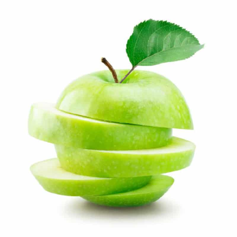 Stacked sliced green apple